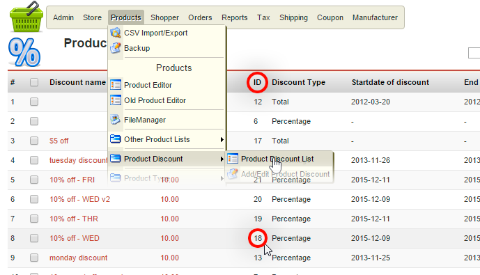 finding discount ids within product list editor