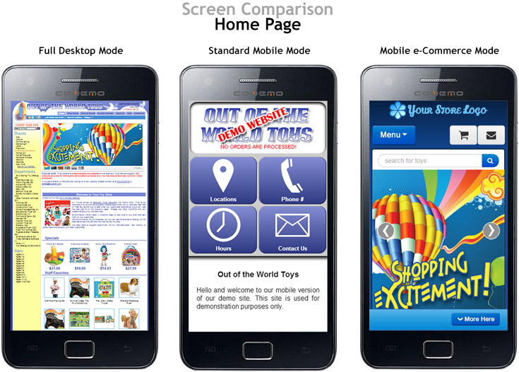 Comparison of homepages on mobile